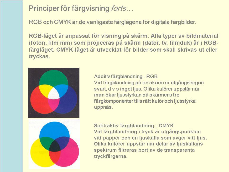 Principer för färgvisning forts…