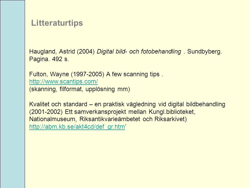 Litteraturtips Haugland, Astrid (2004) Digital bild- och fotobehandling . Sundbyberg. Pagina. 492 s.