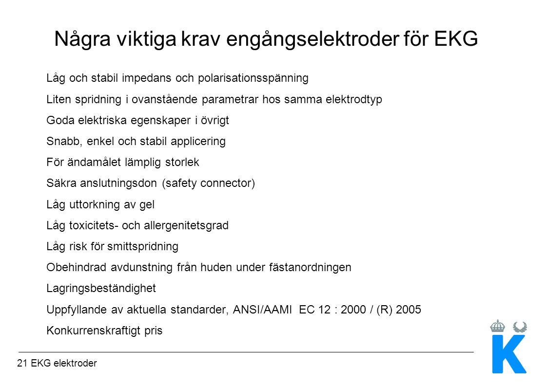 Några viktiga krav engångselektroder för EKG