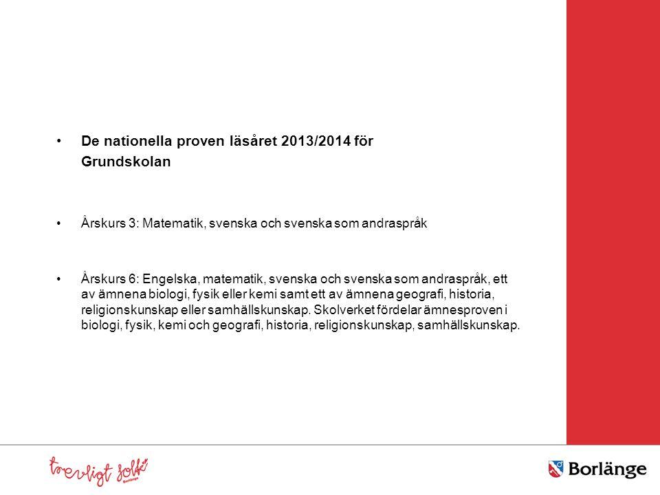 De nationella proven läsåret 2013/2014 för Grundskolan