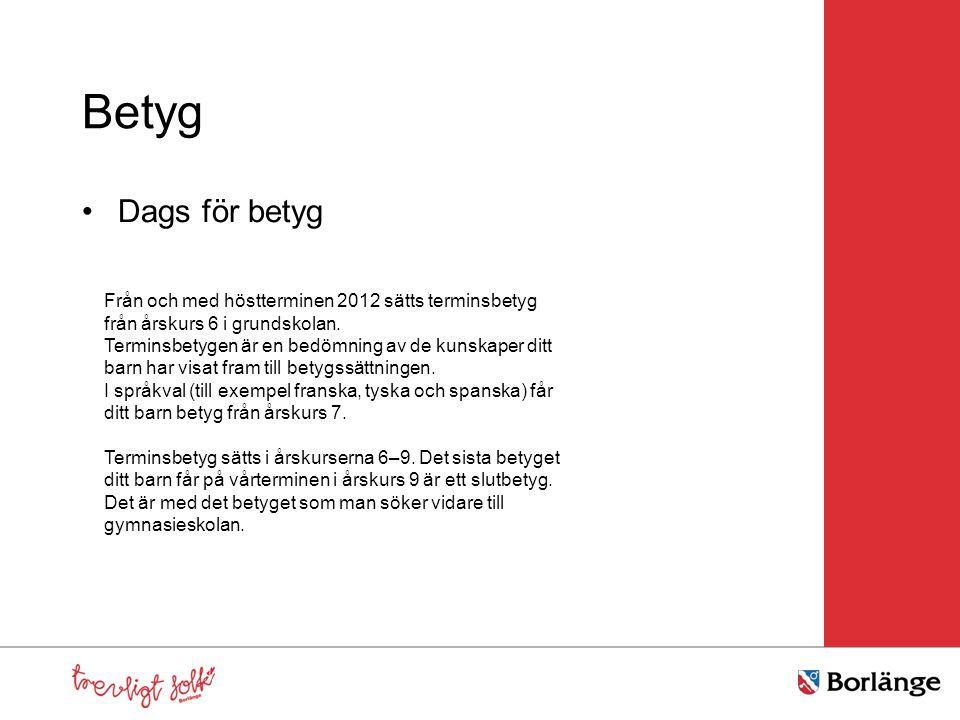 Betyg Dags för betyg. Från och med höstterminen 2012 sätts terminsbetyg från årskurs 6 i grundskolan.