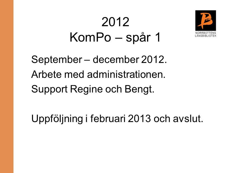 2012 KomPo – spår 1 September – december 2012.