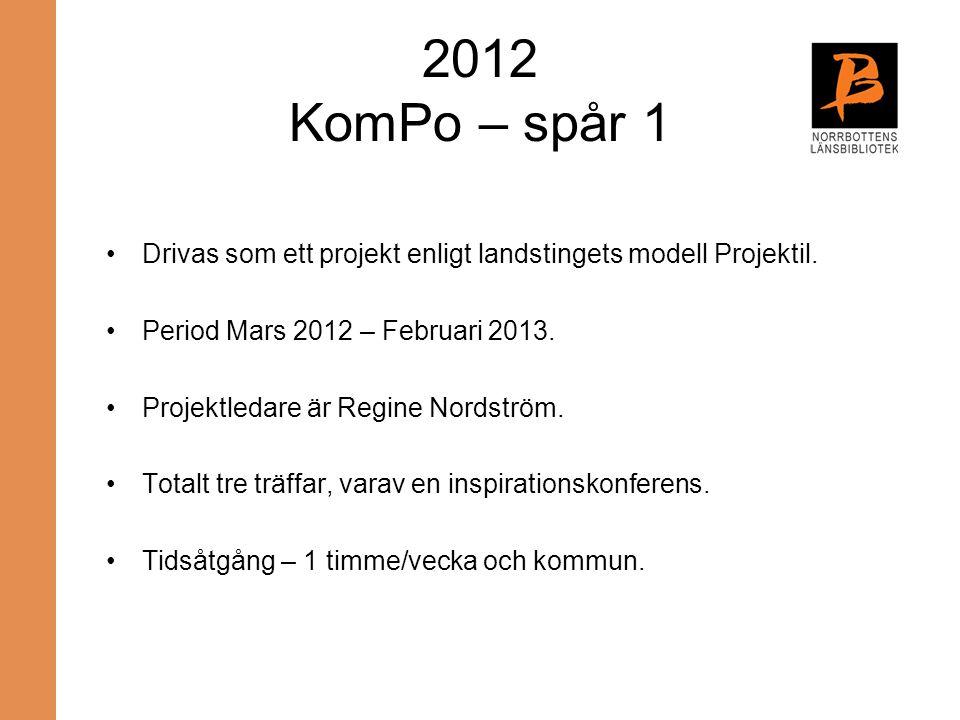 2012 KomPo – spår 1 Drivas som ett projekt enligt landstingets modell Projektil. Period Mars 2012 – Februari 2013.