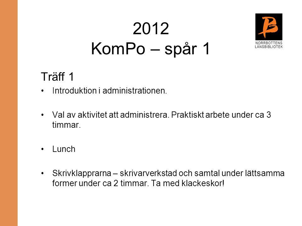 2012 KomPo – spår 1 Träff 1 Introduktion i administrationen.