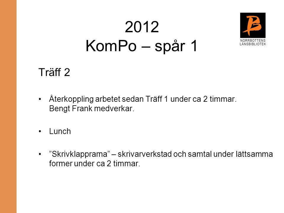 2012 KomPo – spår 1 Träff 2. Återkoppling arbetet sedan Träff 1 under ca 2 timmar. Bengt Frank medverkar.