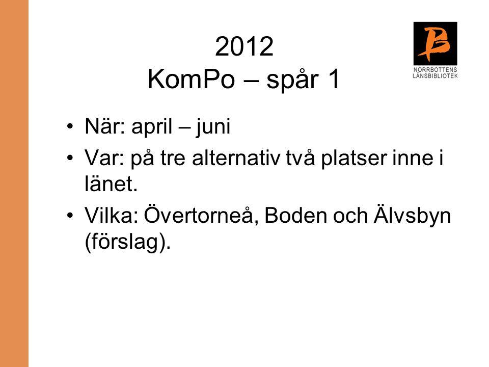 2012 KomPo – spår 1 När: april – juni
