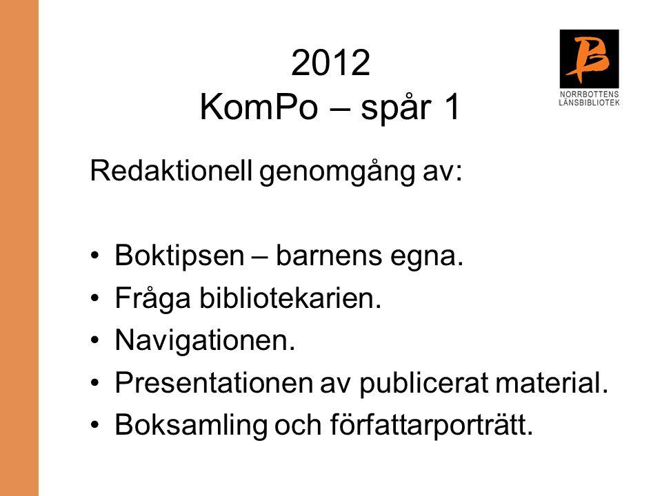 2012 KomPo – spår 1 Redaktionell genomgång av: