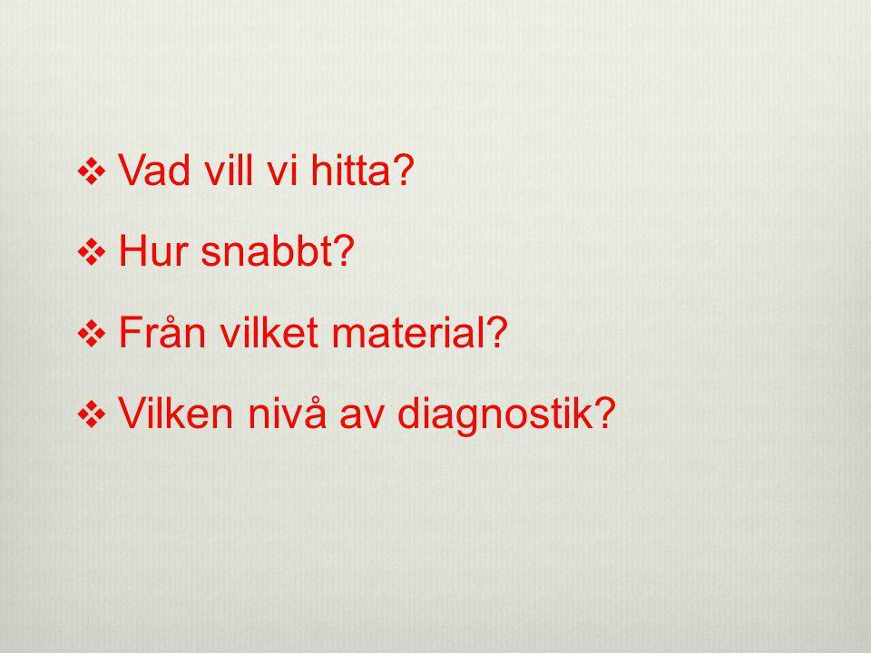 Vad vill vi hitta Hur snabbt Från vilket material Vilken nivå av diagnostik