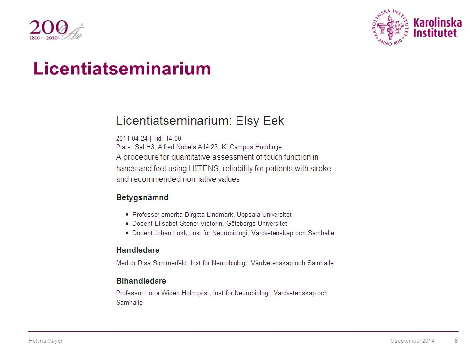 Licentiatseminarium Helena Mayer 6 april 2017