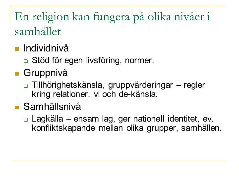 En religion kan fungera på olika nivåer i samhället