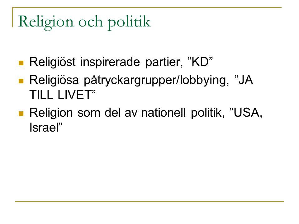 Religion och politik Religiöst inspirerade partier, KD