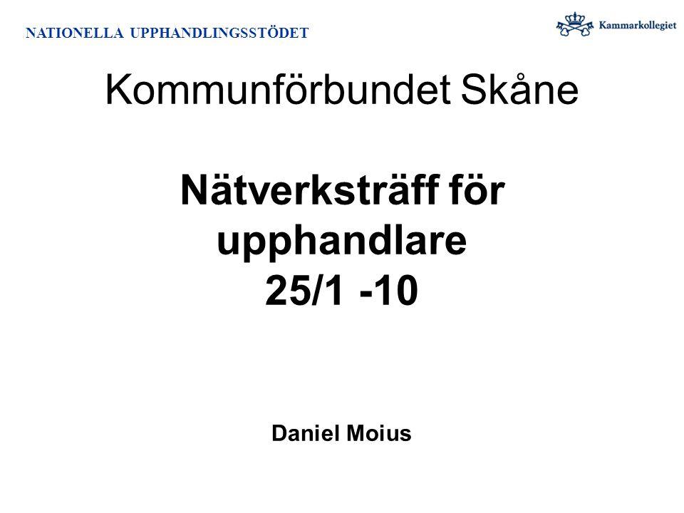 Kommunförbundet Skåne Nätverksträff för upphandlare 25/1 -10 Daniel Moius