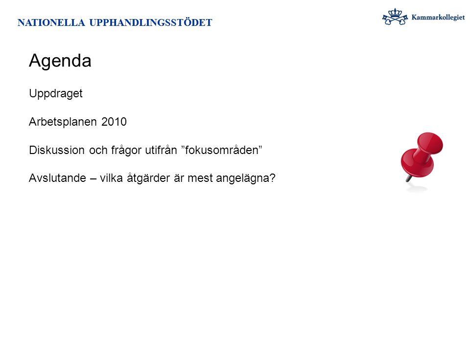 Agenda Uppdraget Arbetsplanen 2010