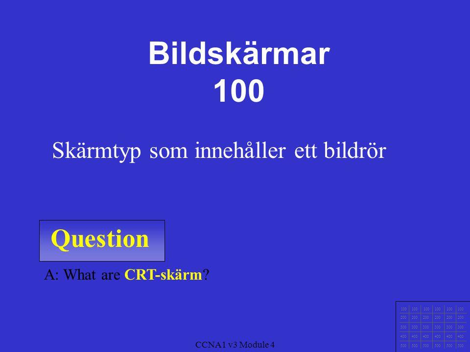 Bildskärmar 100 Question Skärmtyp som innehåller ett bildrör