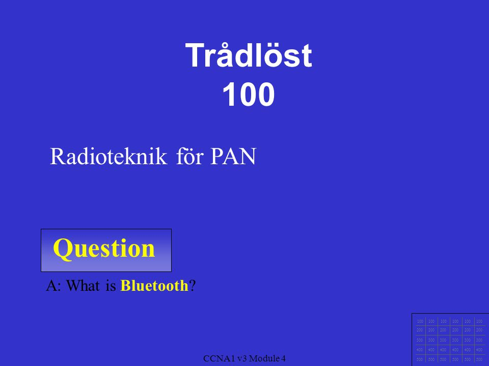 Trådlöst 100 Question Radioteknik för PAN A: What is Bluetooth