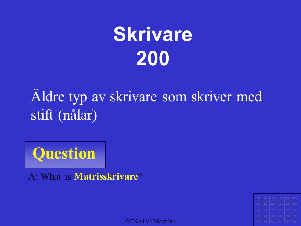 Skrivare 200 Äldre typ av skrivare som skriver med stift (nålar) Question. A: What is Matrisskrivare