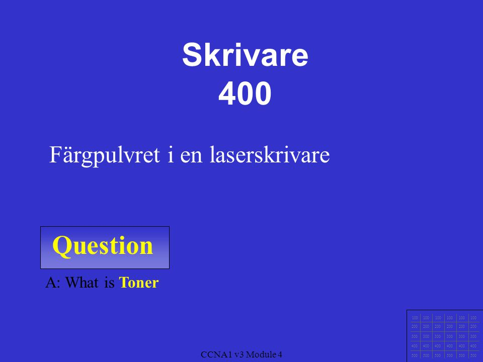 Skrivare 400 Question Färgpulvret i en laserskrivare A: What is Toner