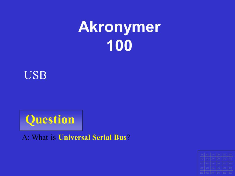 Akronymer 100 Question USB A: What is Universal Serial Bus 100 200