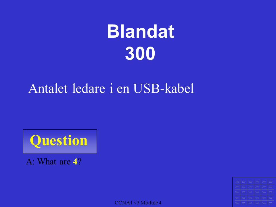Blandat 300 Question Antalet ledare i en USB-kabel A: What are 4