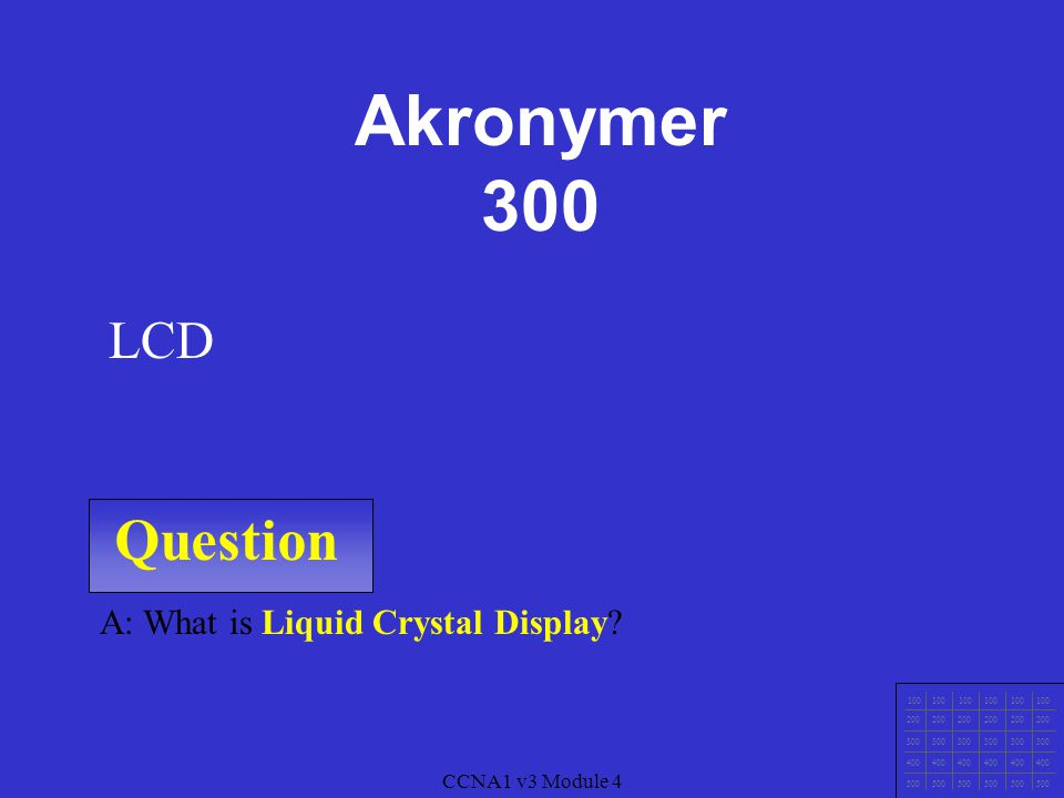 Akronymer 300 Question LCD A: What is Liquid Crystal Display