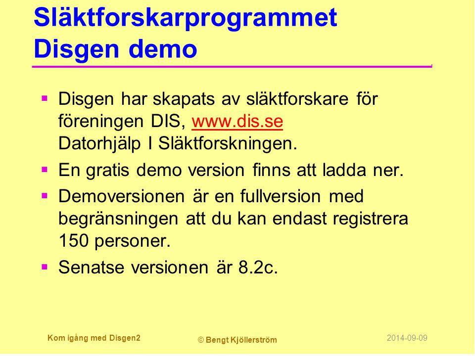 Släktforskarprogrammet Disgen demo