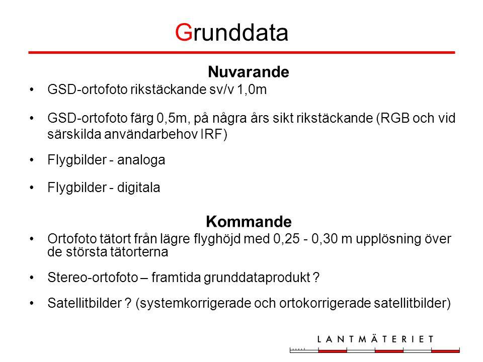 Grunddata Nuvarande Kommande GSD-ortofoto rikstäckande sv/v 1,0m