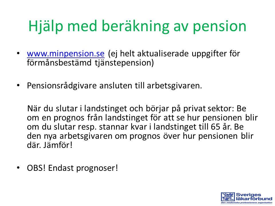 Hjälp med beräkning av pension