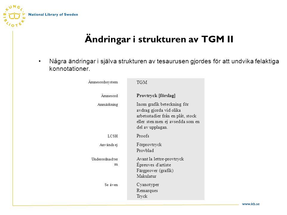 Ändringar i strukturen av TGM II