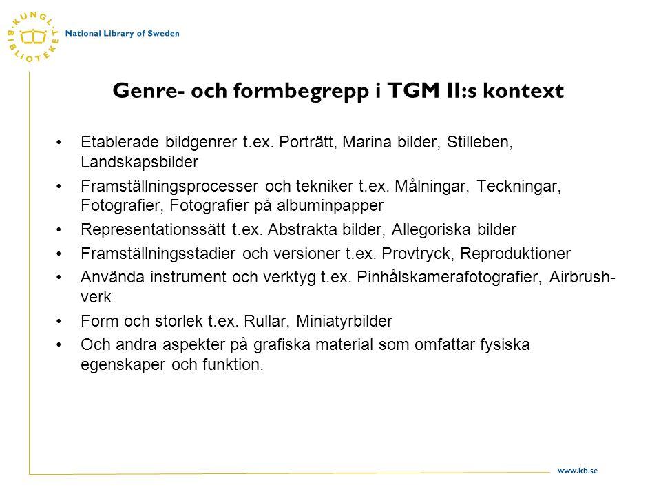 Genre- och formbegrepp i TGM II:s kontext