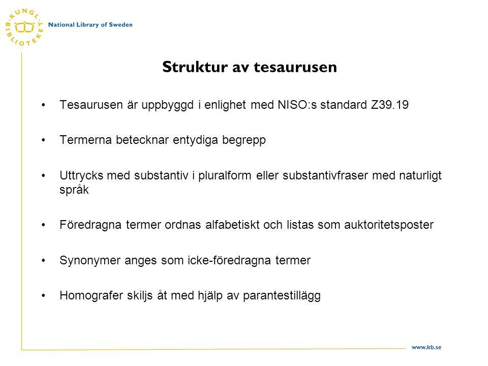 Struktur av tesaurusen