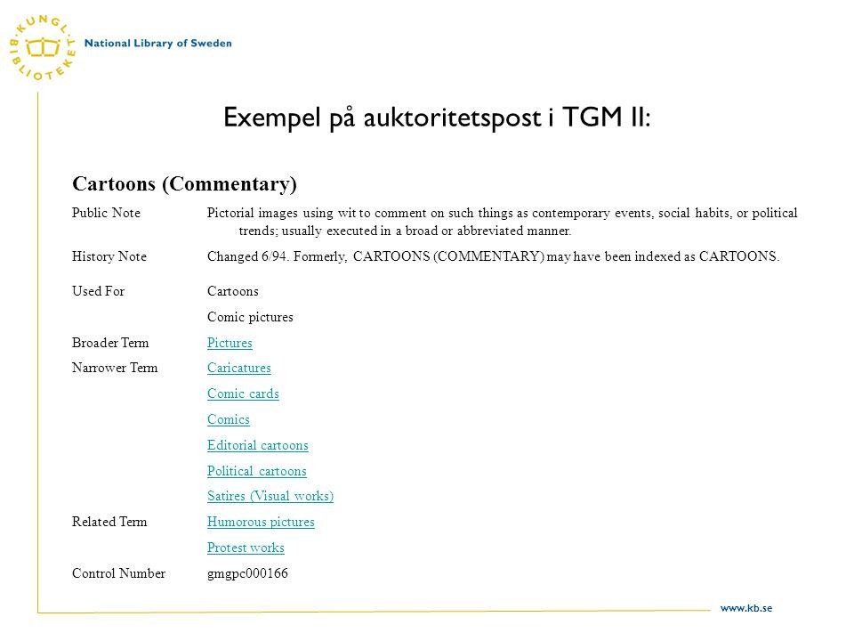 Exempel på auktoritetspost i TGM II: