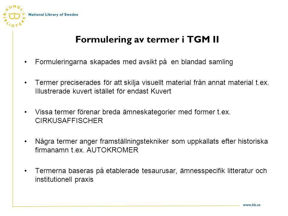 Formulering av termer i TGM II