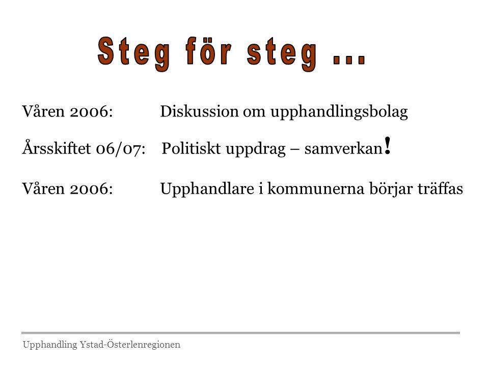 Steg för steg ... Våren 2006: Diskussion om upphandlingsbolag