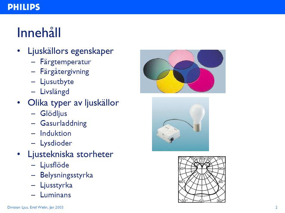 Innehåll Ljuskällors egenskaper Olika typer av ljuskällor