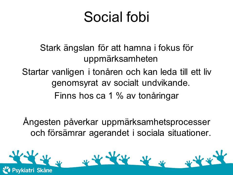Social fobi Stark ängslan för att hamna i fokus för uppmärksamheten
