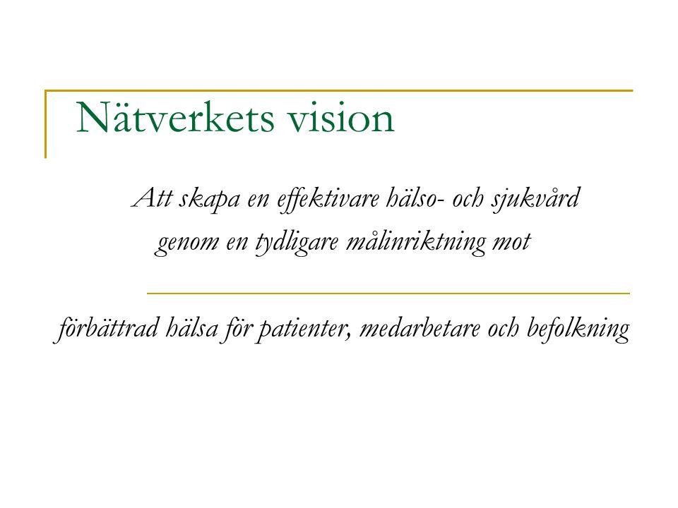 Nätverkets vision Att skapa en effektivare hälso- och sjukvård
