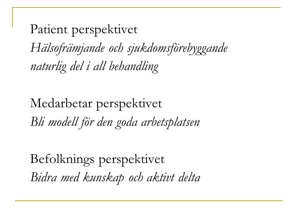 Patient perspektivet Hälsofrämjande och sjukdomsförebyggande. naturlig del i all behandling. Medarbetar perspektivet.