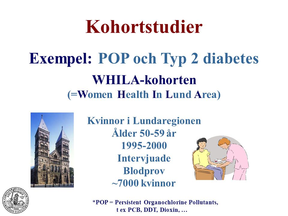 Kohortstudier Exempel: POP och Typ 2 diabetes WHILA-kohorten