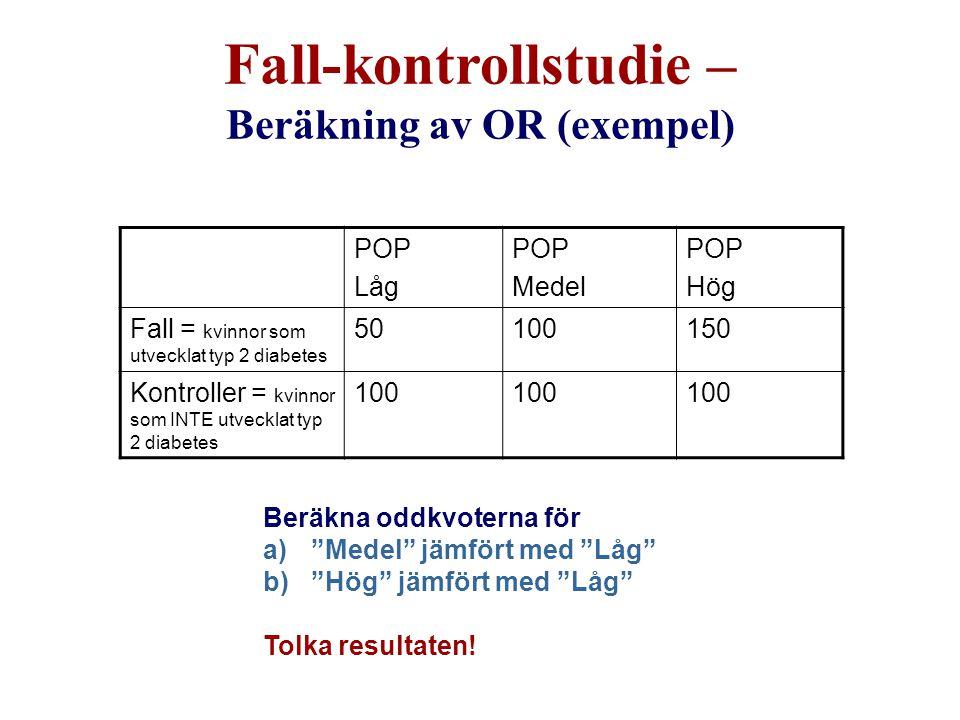 Fall-kontrollstudie – Beräkning av OR (exempel)