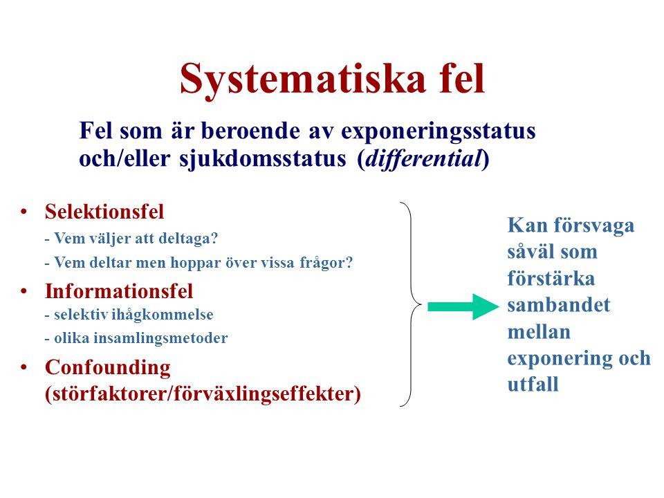 Systematiska fel Fel som är beroende av exponeringsstatus och/eller sjukdomsstatus (differential) Selektionsfel.
