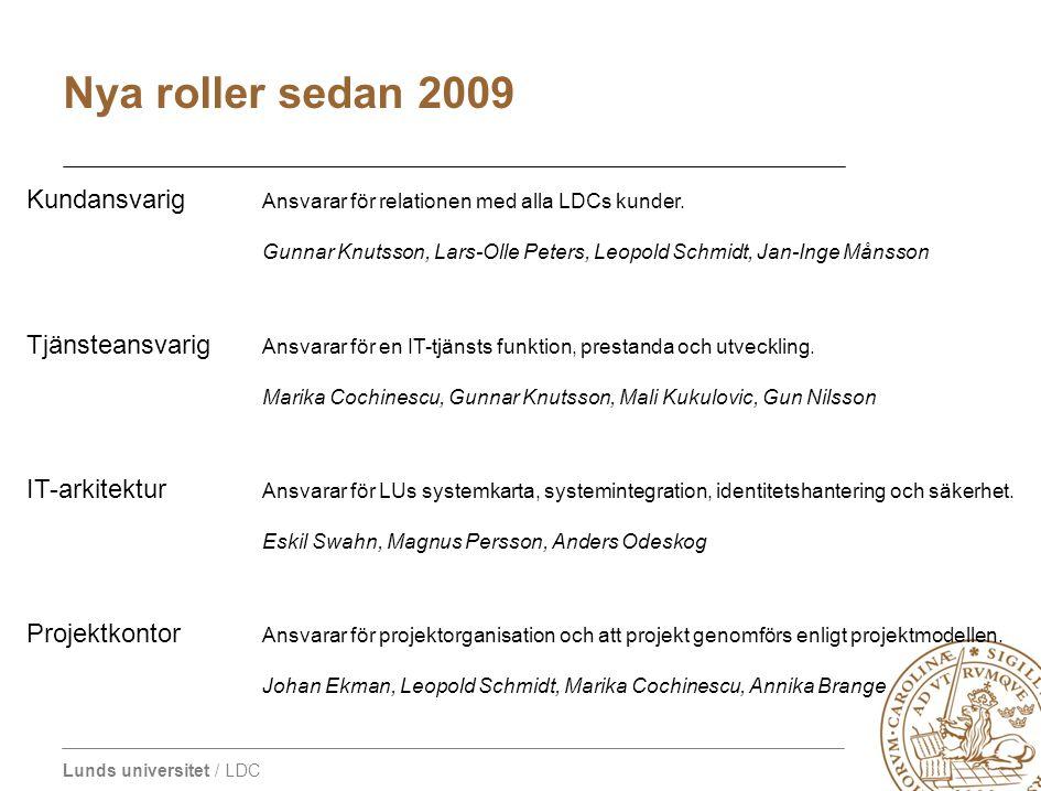 Nya roller sedan 2009 Kundansvarig Ansvarar för relationen med alla LDCs kunder.