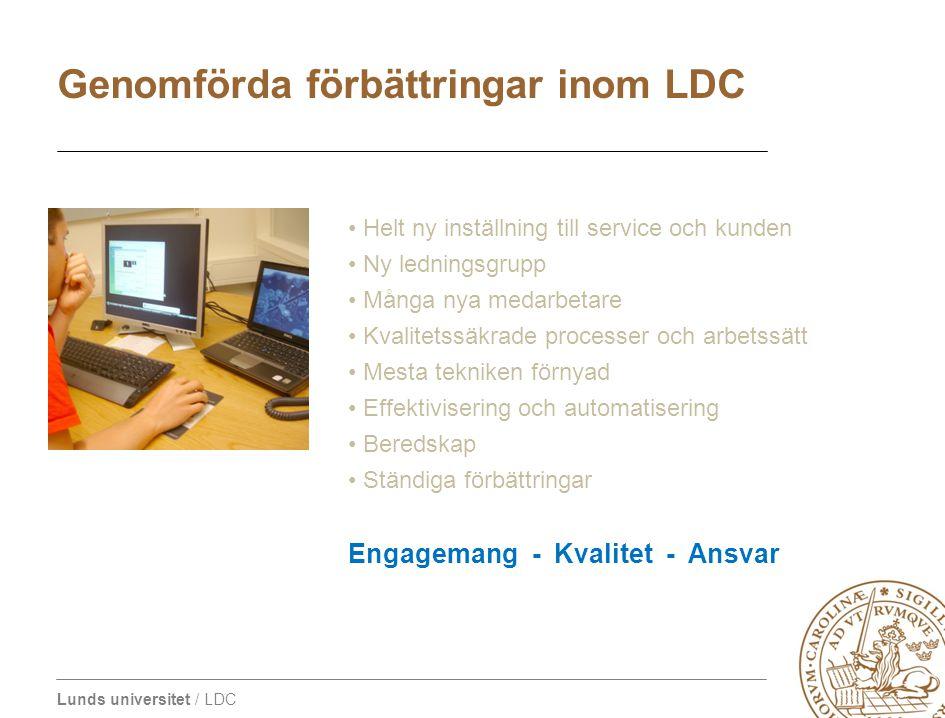 Genomförda förbättringar inom LDC