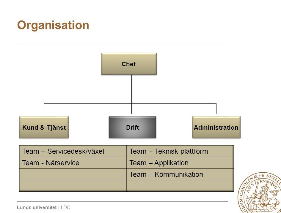 LDC organisation 2009 Organisation Team – Servicedesk/växel