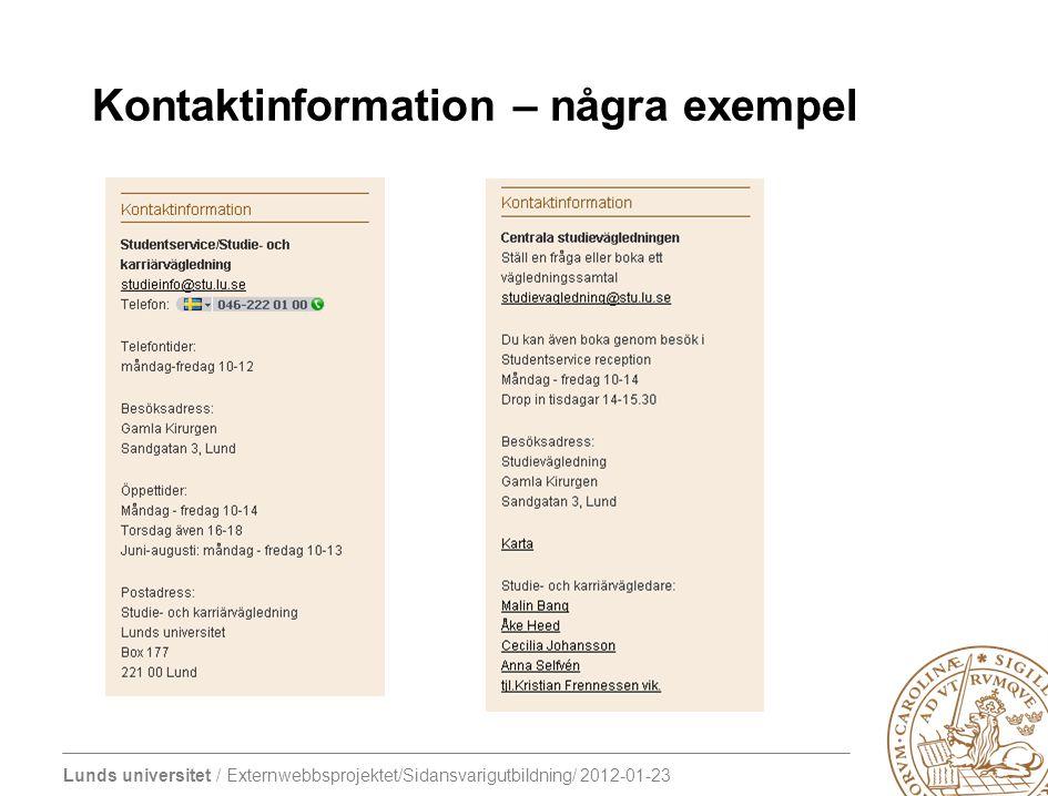 Kontaktinformation – några exempel