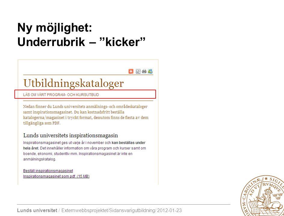 Ny möjlighet: Underrubrik – kicker