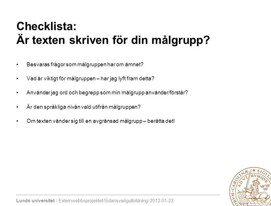 Checklista: Är texten skriven för din målgrupp