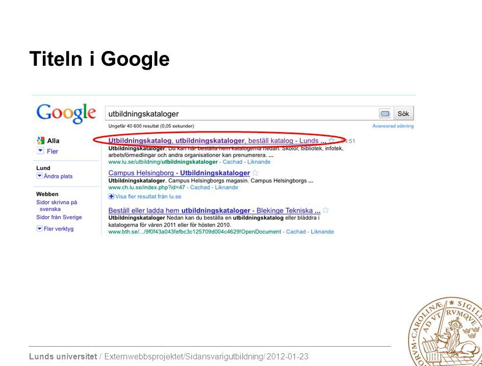 Titeln i Google Titeltaggen som den visas i google