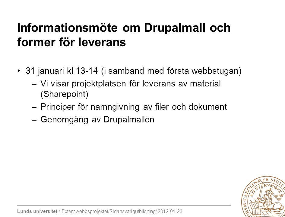 Informationsmöte om Drupalmall och former för leverans
