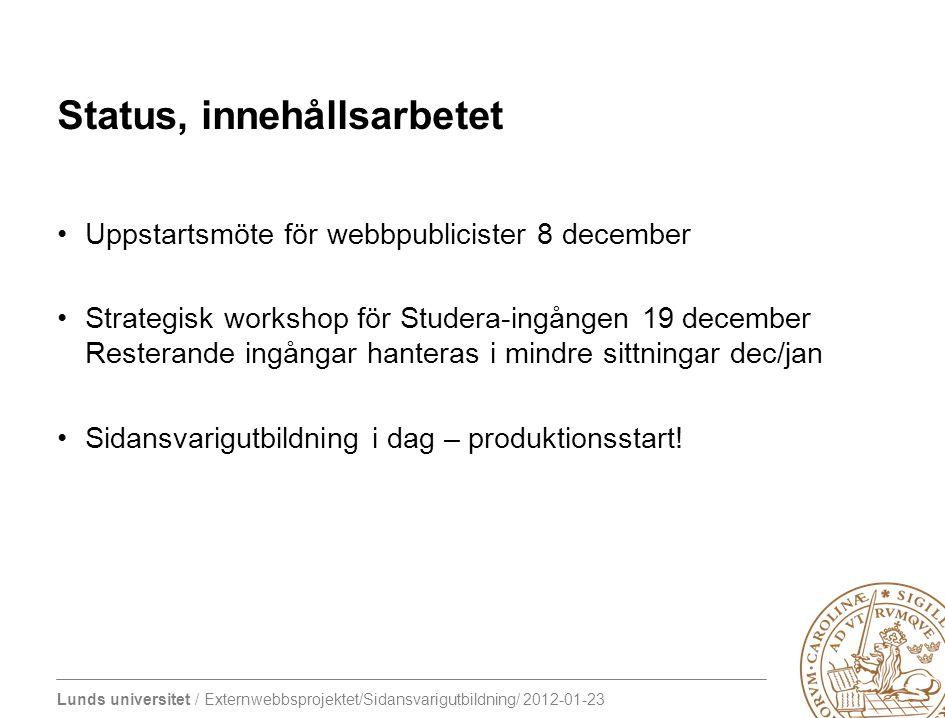 Status, innehållsarbetet