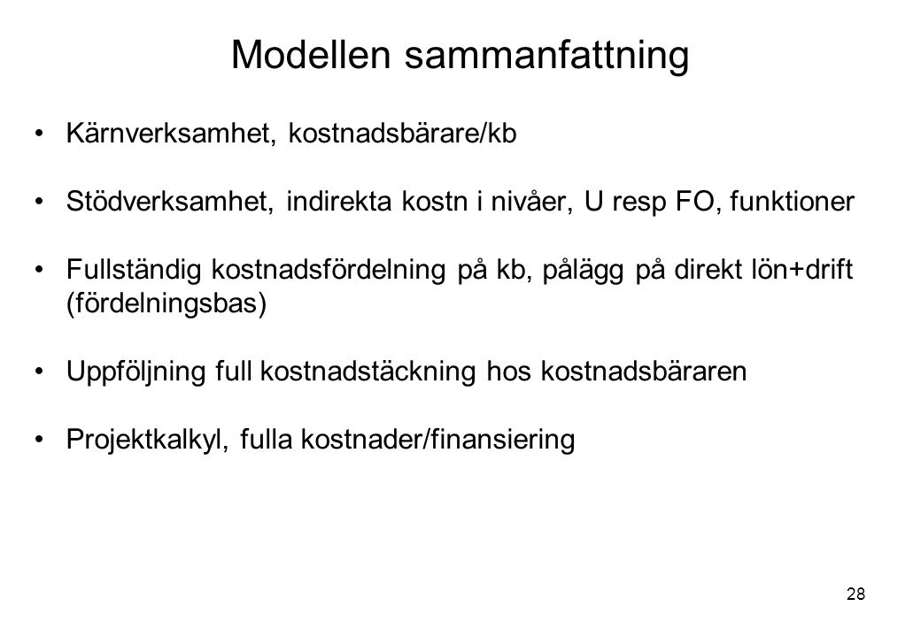 Modellen sammanfattning